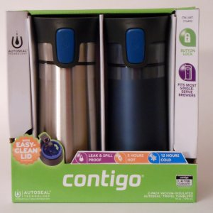 Contigo Vacuum Insulated Autoseal Travel Tumbler Set Blue/Chrome
