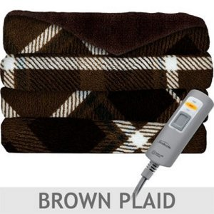Sunbeam Velvet Plush Heated Throw - Brown Plaid