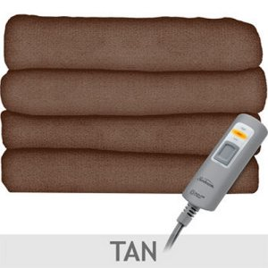 Sunbeam Velvet Plush Heated Throw - Tan