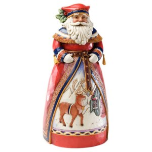 Lapland Santa with Deer Scene Figurine 10 IN